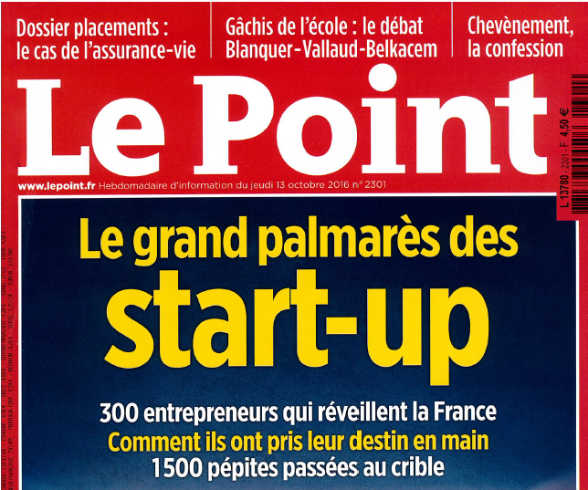 Le grand palmarès des start-ups – Article dans le magazine Le Point n°2301 du 13 octobre 2016